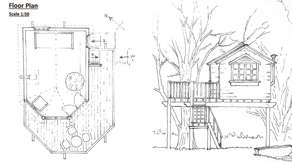 Custom treehouse design plan and section drawings