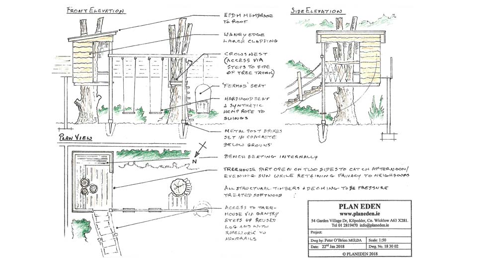 Cosy children's treehouse design plan in small Dublin garden